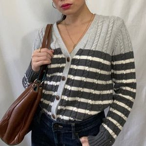 Tommy Hilfiger gray and white stripe sweater Large